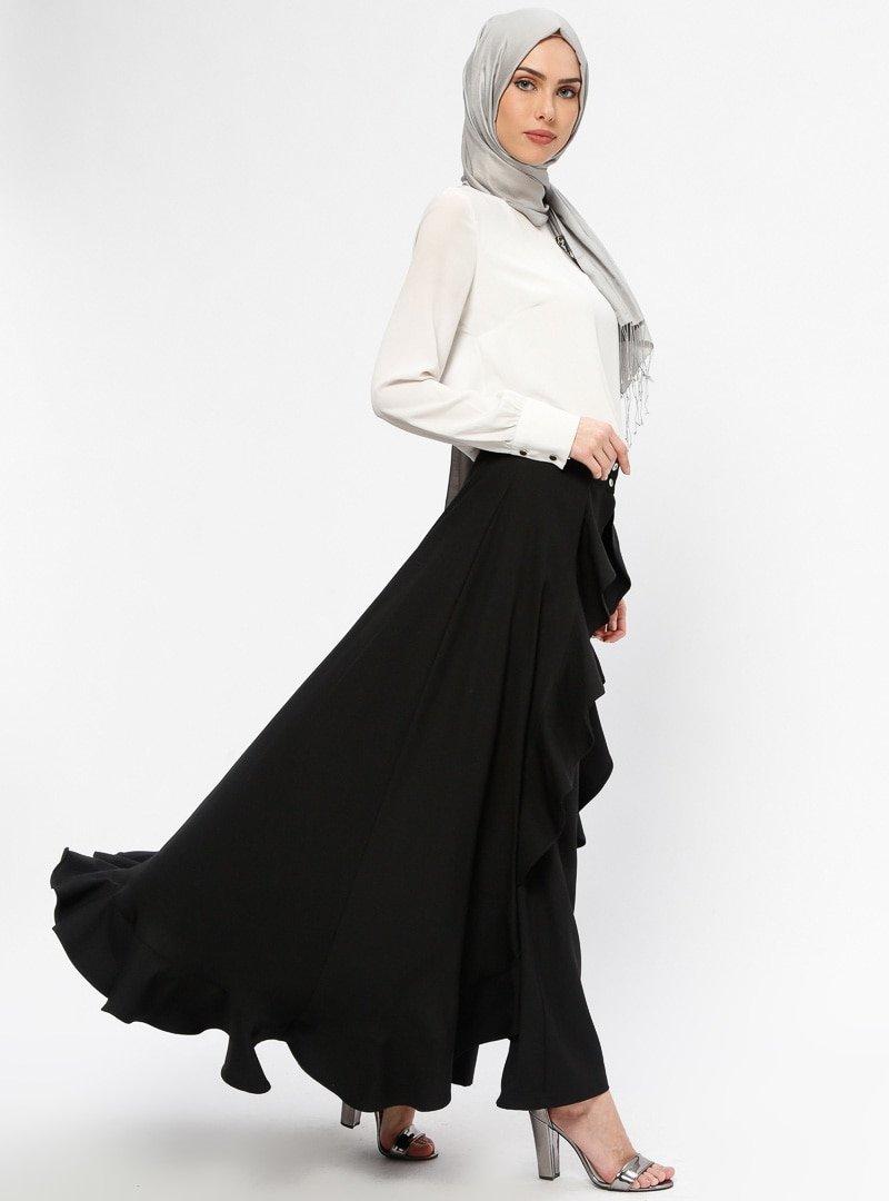BÜRÜN Siyah Volanlı Pantolon Etek