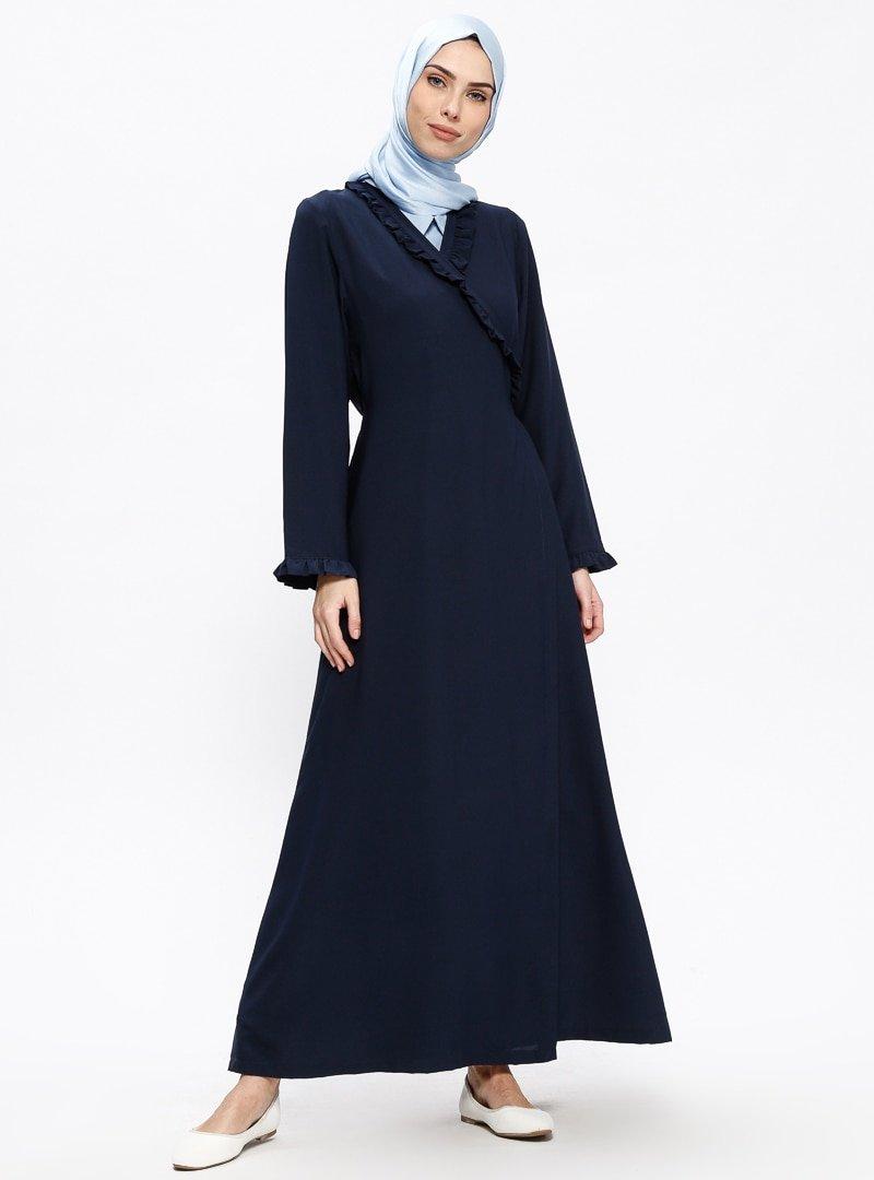 Me Like Lacivert Fırfır Detaylı Namaz Elbisesi