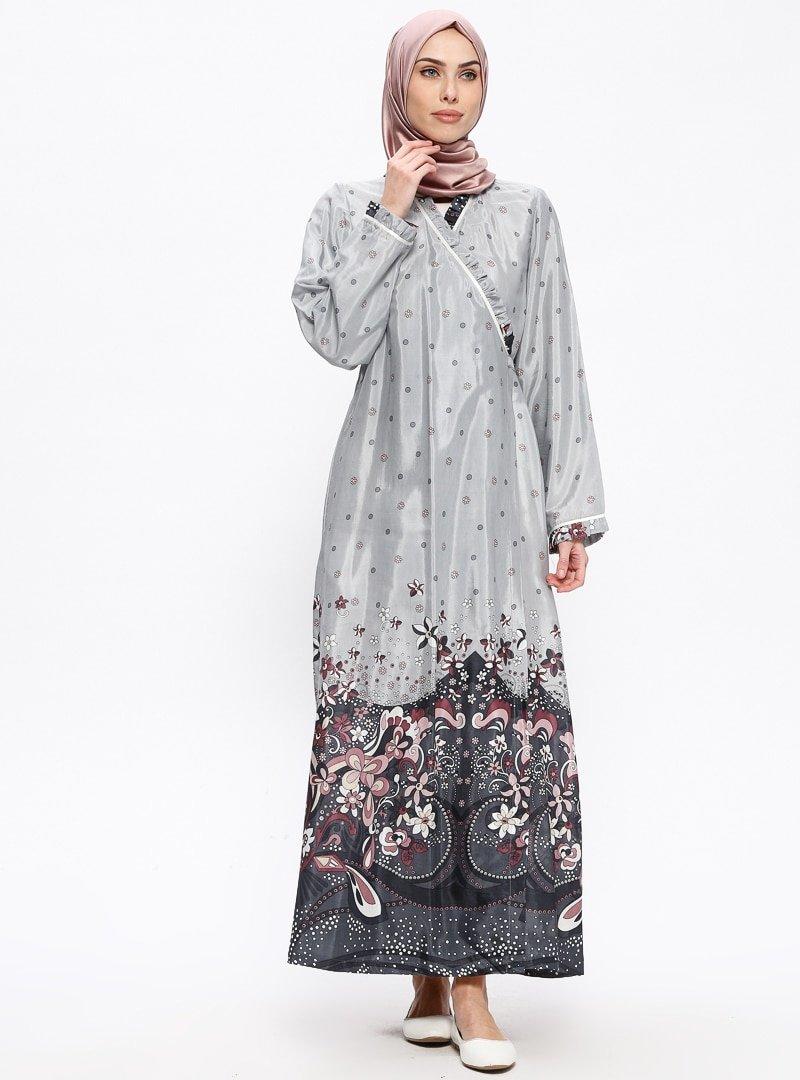 Me Like Gri Desenli Namaz Elbisesi