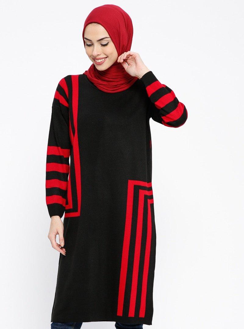PİLİSE Siyah Kırmızı Triko Tunik