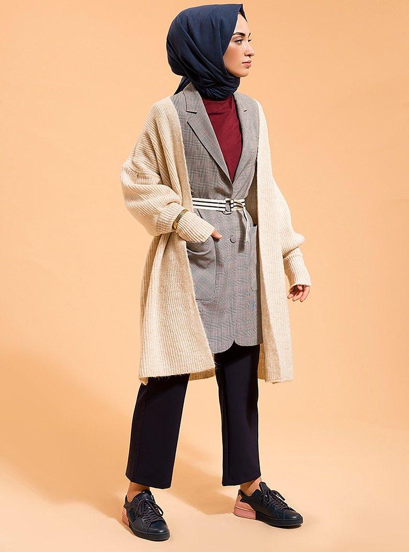 Fashion Light Gri Düğmeli Ceket