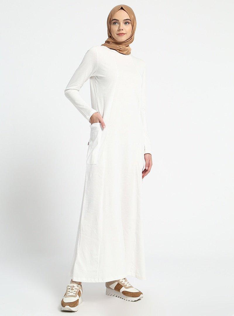 Everyday Basic Beyaz Doğal Kumaşlı Cep Detaylı Elbise
