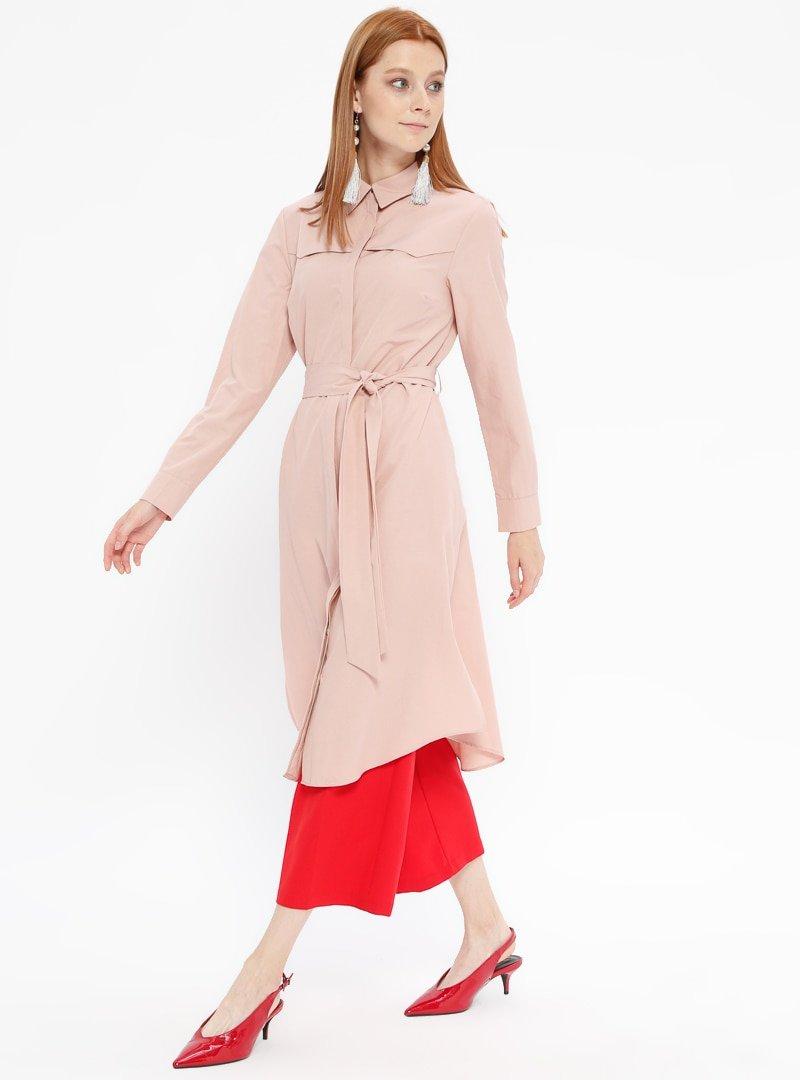 Fashion Light Pudra Gizli Düğmeli Tunik