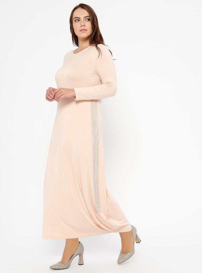 Efraze Pudra Doğal Kumaşlı Elbise