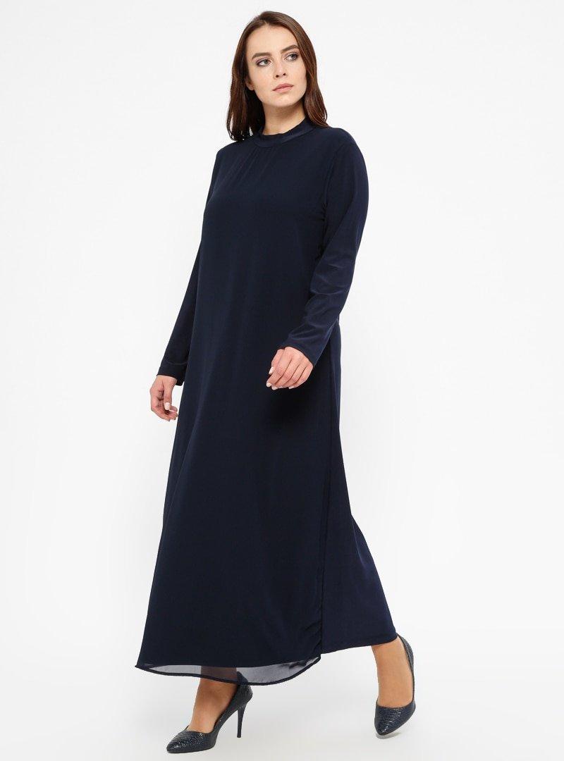 Efraze Lacivert Şifon Parçalı Elbise