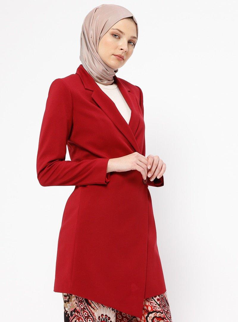Fashion Light Bordo Tek Düğmeli Ceket