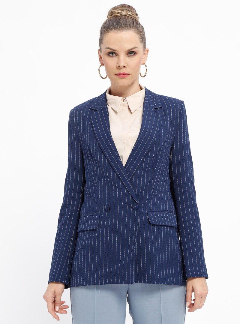 Fashion Light Lacivert Çizgili Ceket