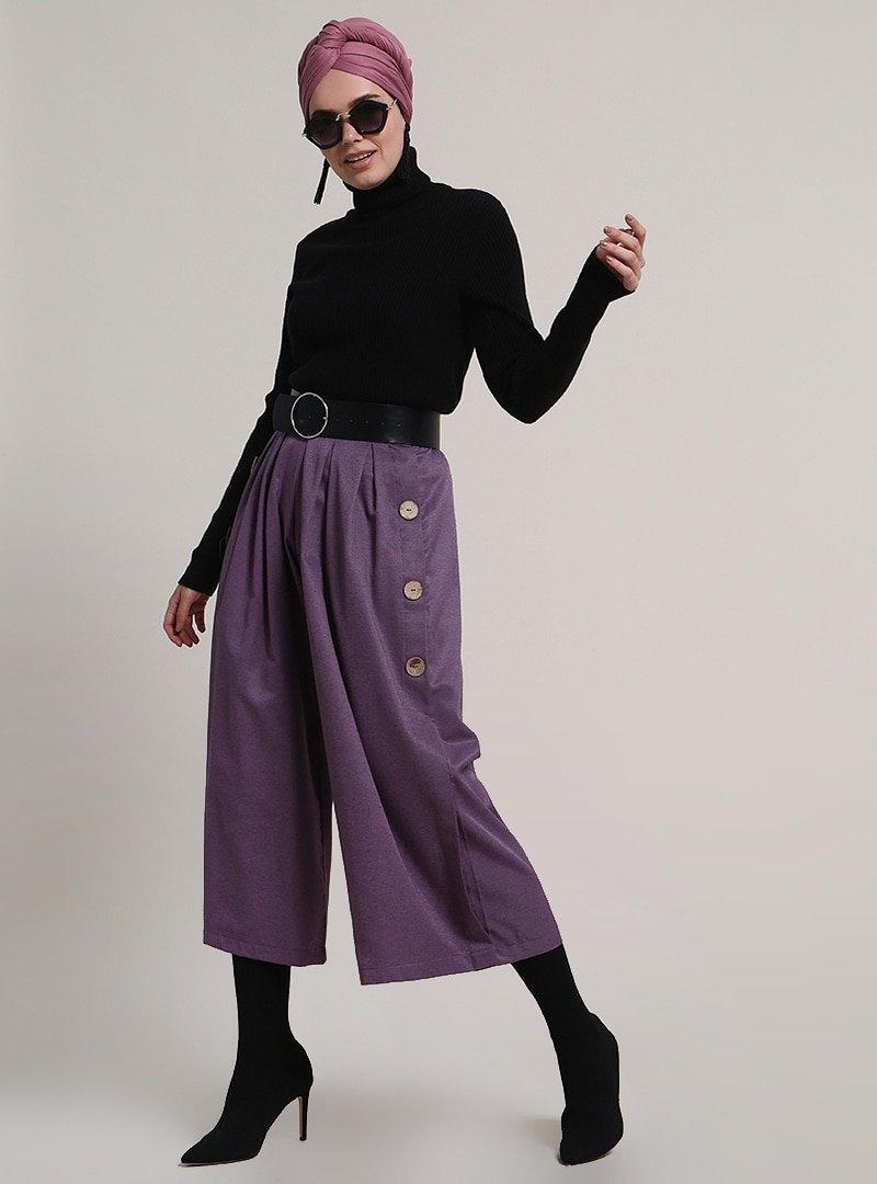 Refka Mor Düğme Detaylı Pantolon Etek