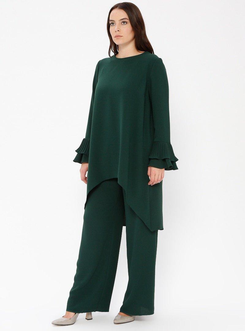 Sevdem Abiye Yeşil Tunik&Pantolon İkili Abiye Elbise