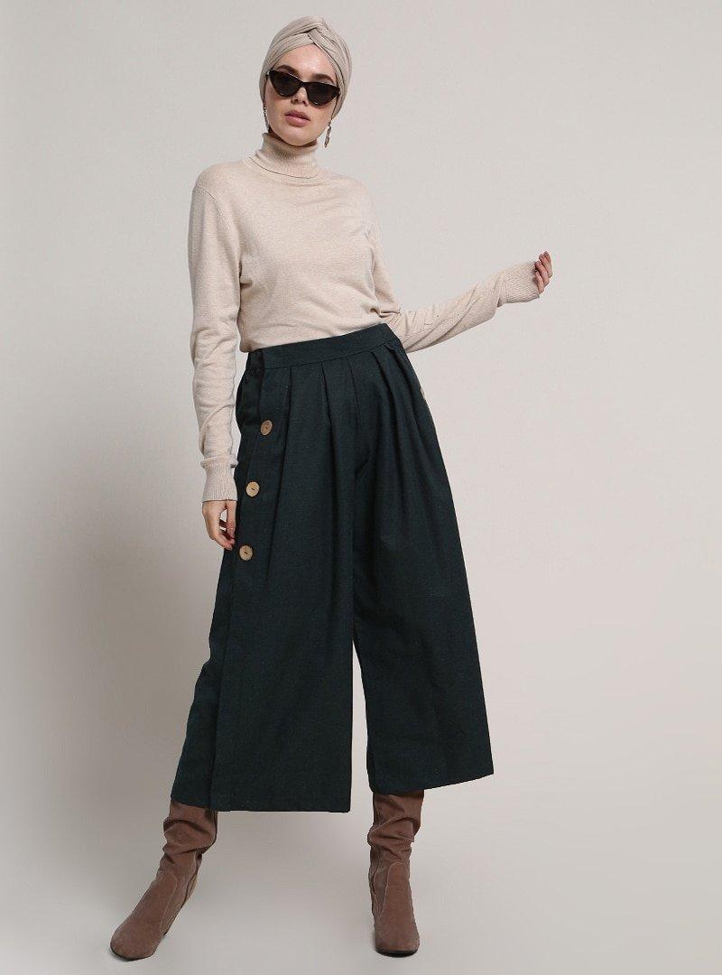 Refka Haki Düğme Detaylı Pantolon Etek