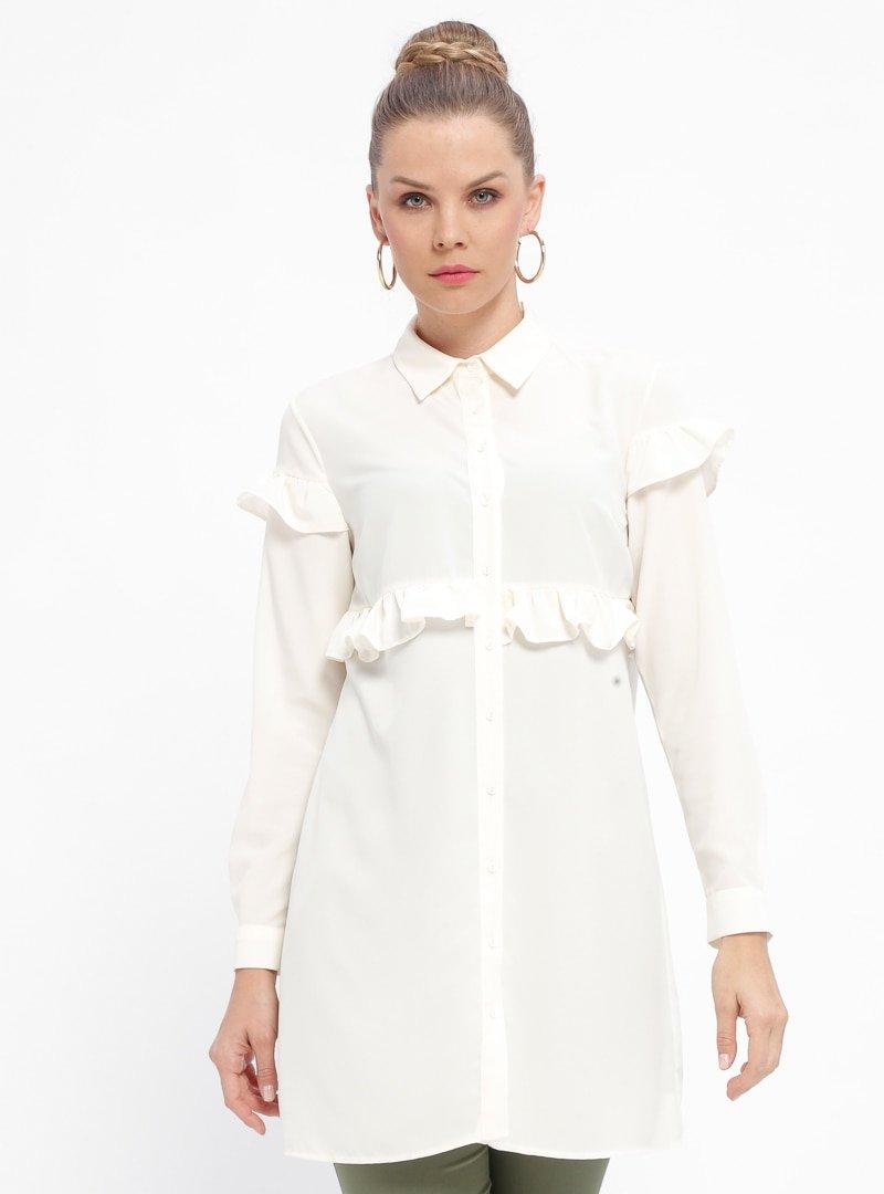 Fashion Light Ekru Fırfırlı Düğmeli Tunik