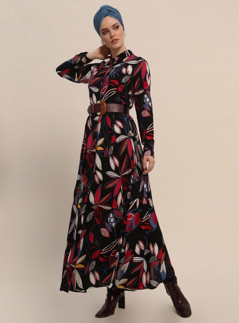 Refka Siyah Doğal Kumaşlı Desenli Elbise