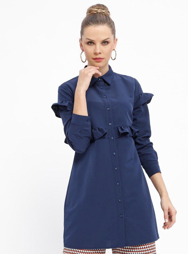 Fashion Light Lacivert Fırfırlı Düğmeli Tunik