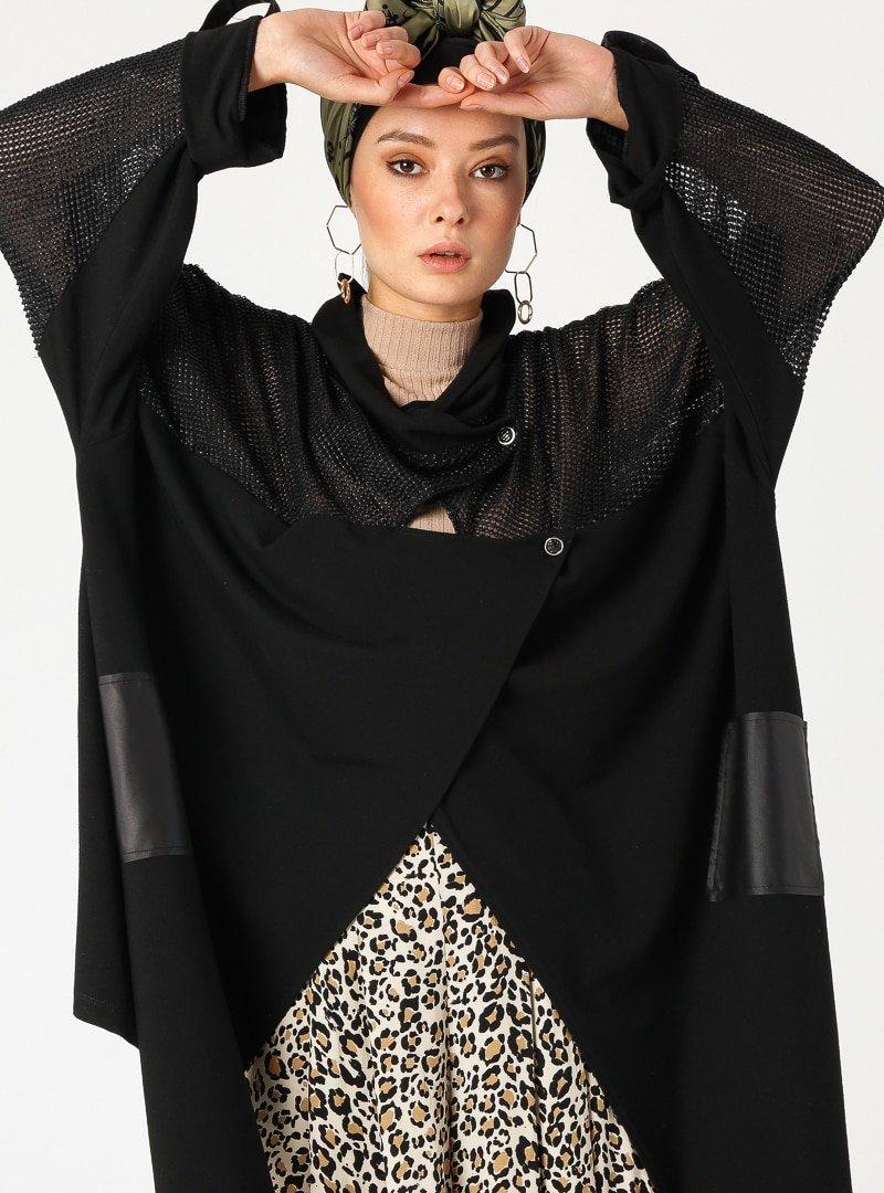 PLİSTRE Siyah Salaş Ceket