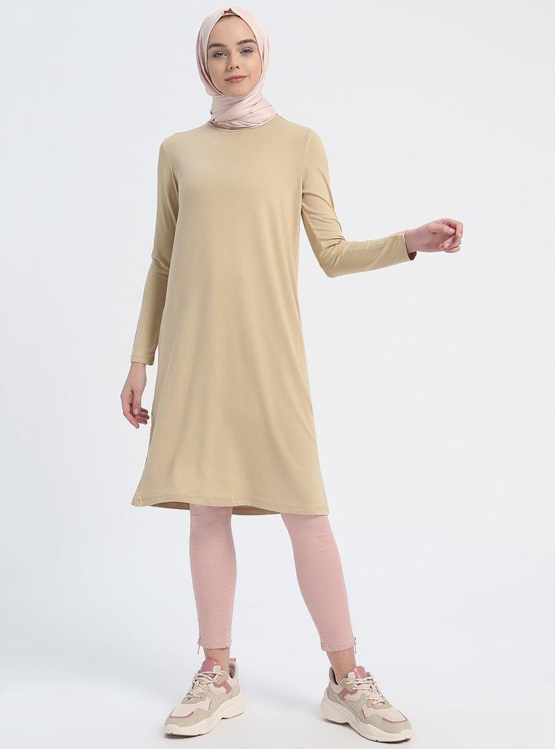 Everyday Basic Kum Beji 85 cm Doğal Kumaşlı Basic Tunik
