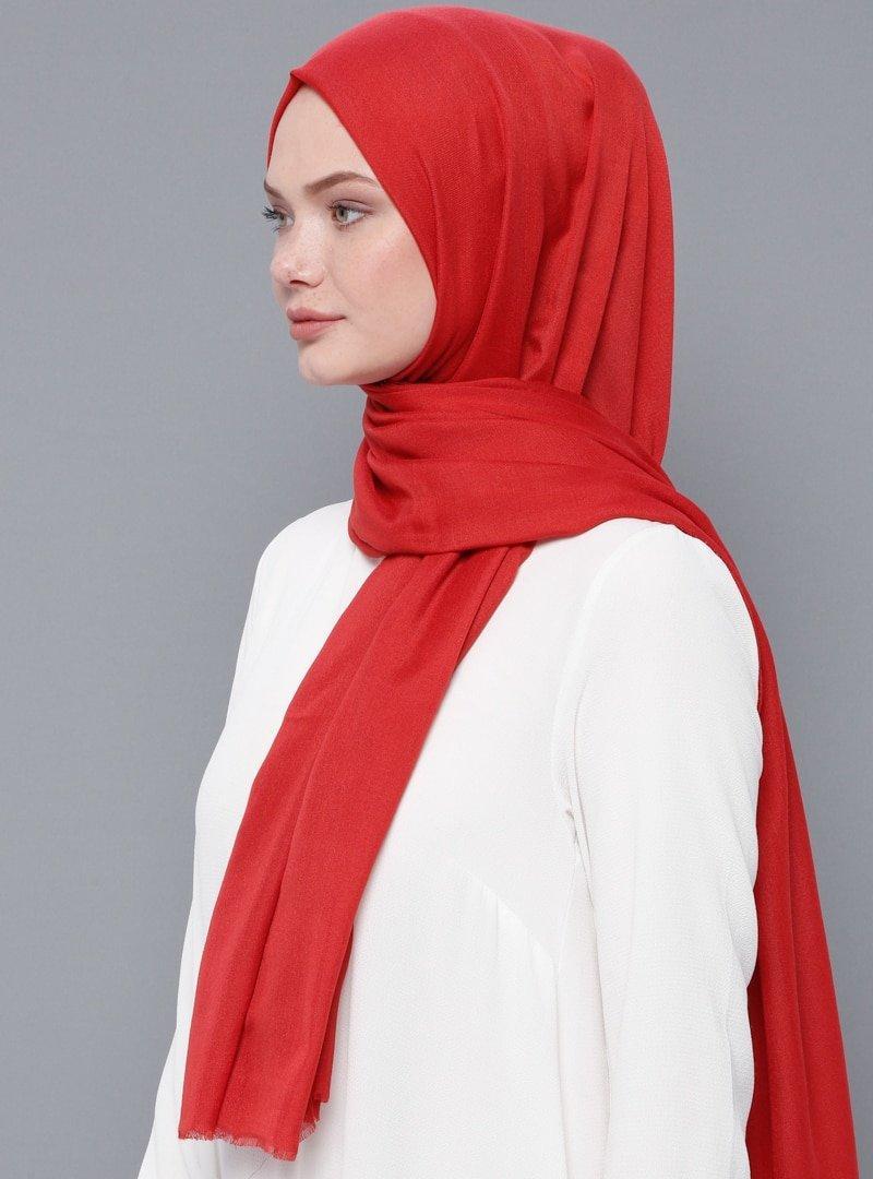 Kayra Eşarp Kırmızı Düz Renk Şal