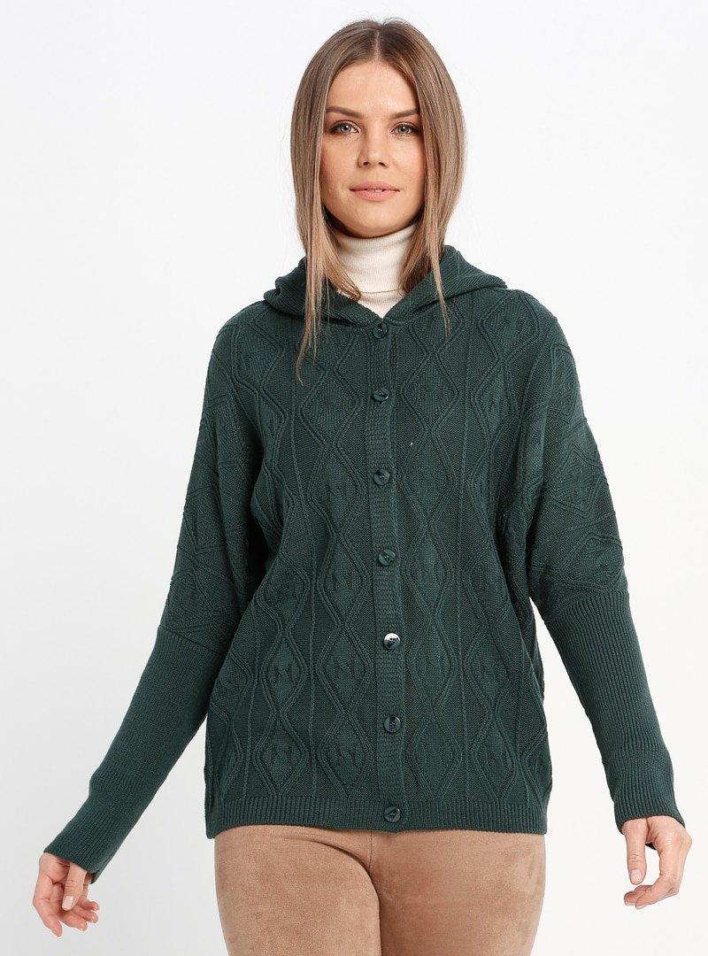 Sementa Yeşil Kapüşonlu Triko Ceket