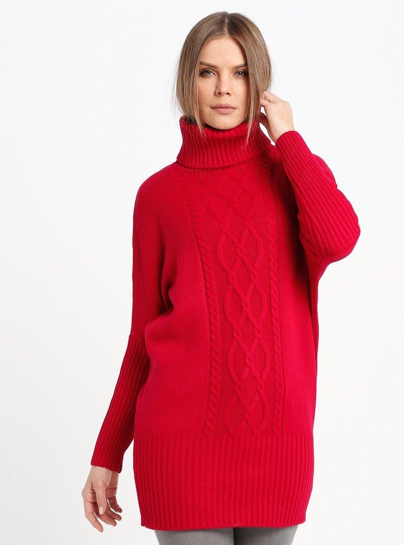 Sementa Kırmızı Boğazlı Triko Tunik