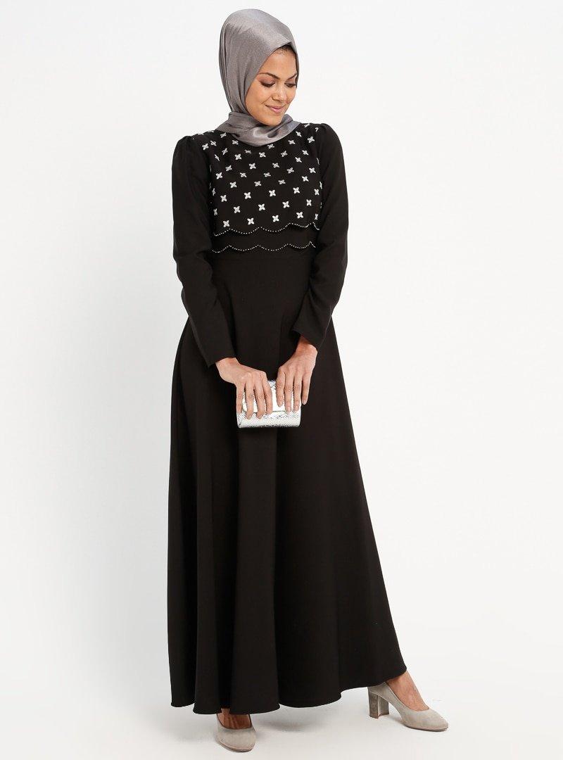 Loreen By Puane Siyah Nakış Detaylı Elbise