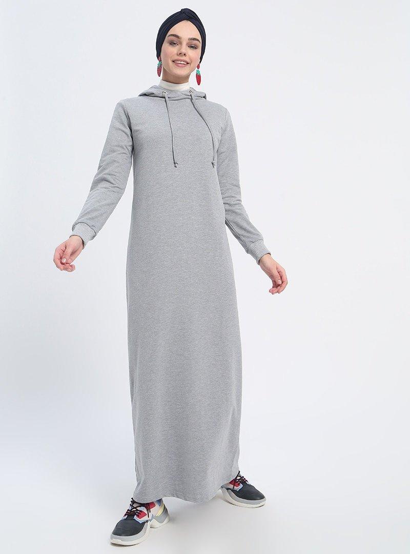 Everyday Basic Açık Gri Melanj Kapüşonlu Spor Elbise