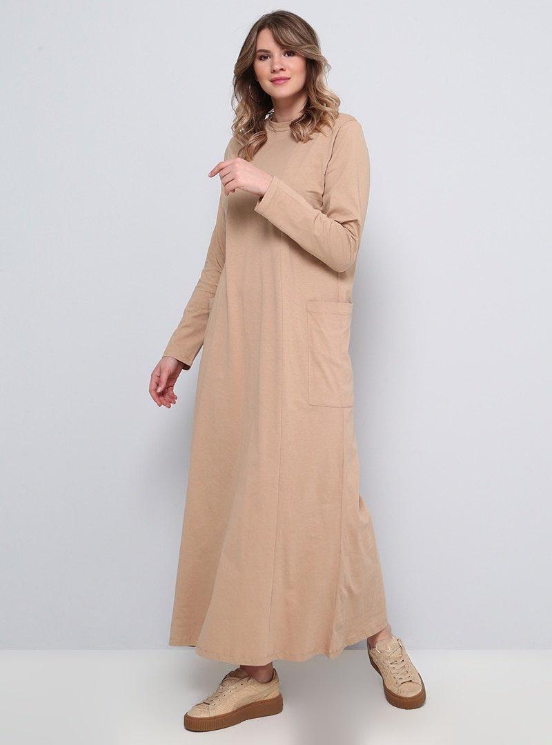 Alia Camel Düz Renkli Cepli Elbise