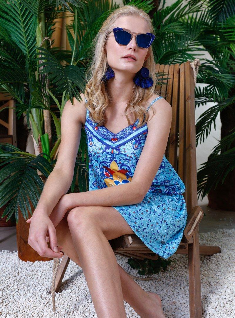 Mayovera Mavi Lacivert Sarı Mavi Göbekli Desenli Mayo