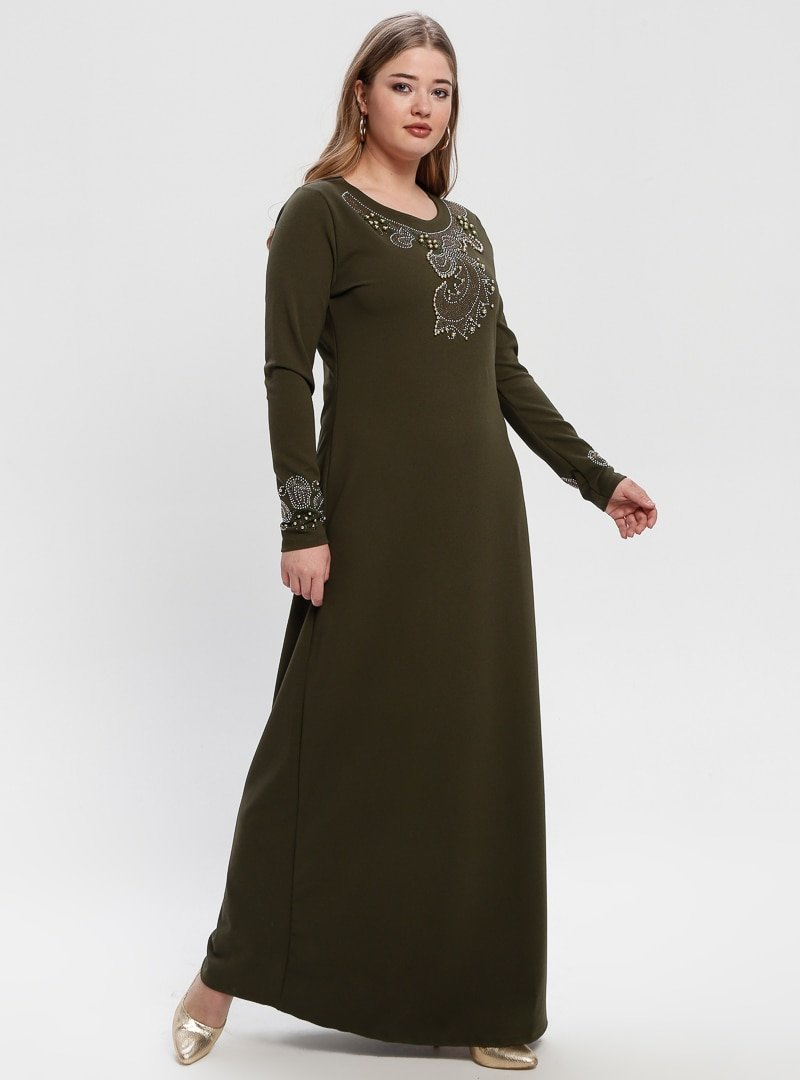 Picolina Haki Drop Baskılı Boncuklu Elbise