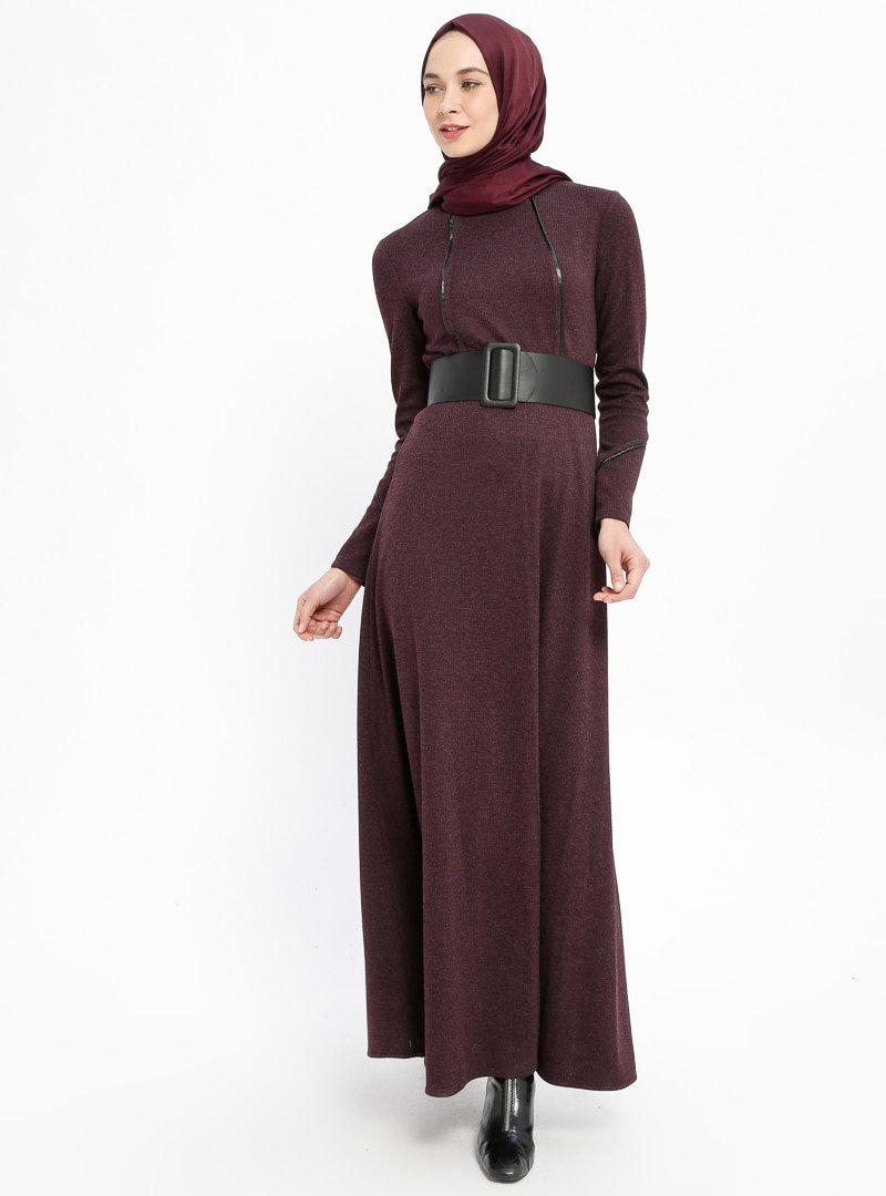 Laruj Bordo Kemerli Elbise