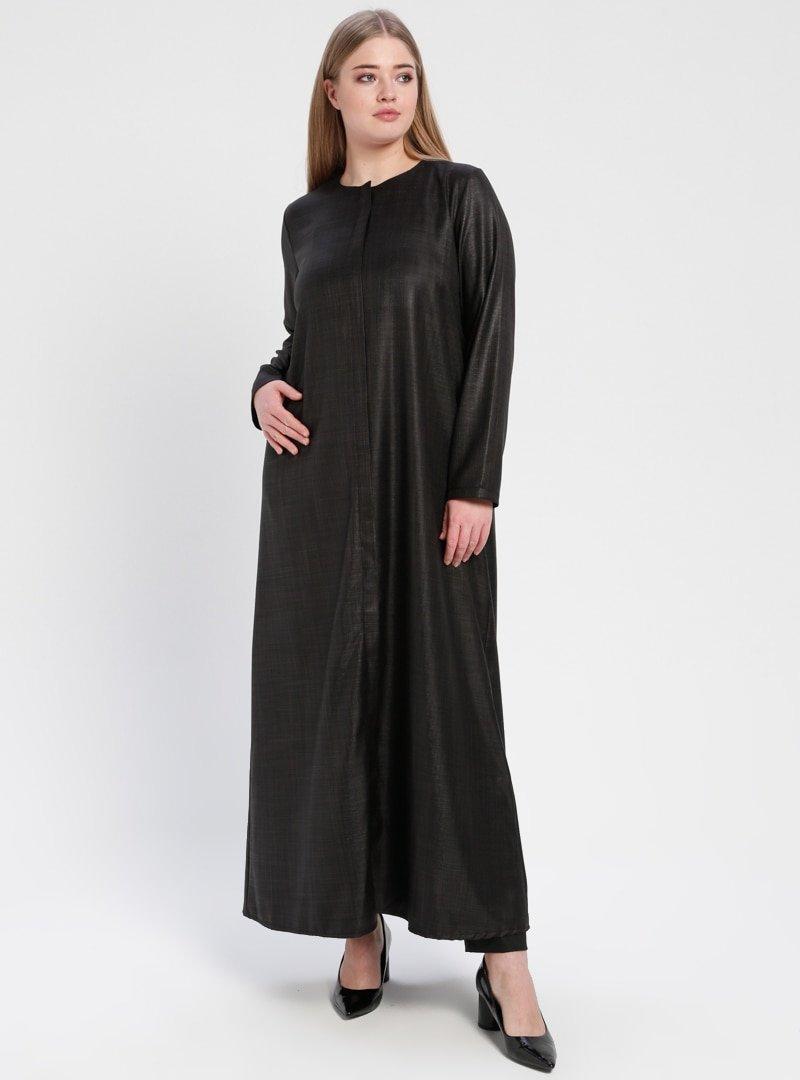 ModaNaz Siyah Gizli Fermuarlı Ferace