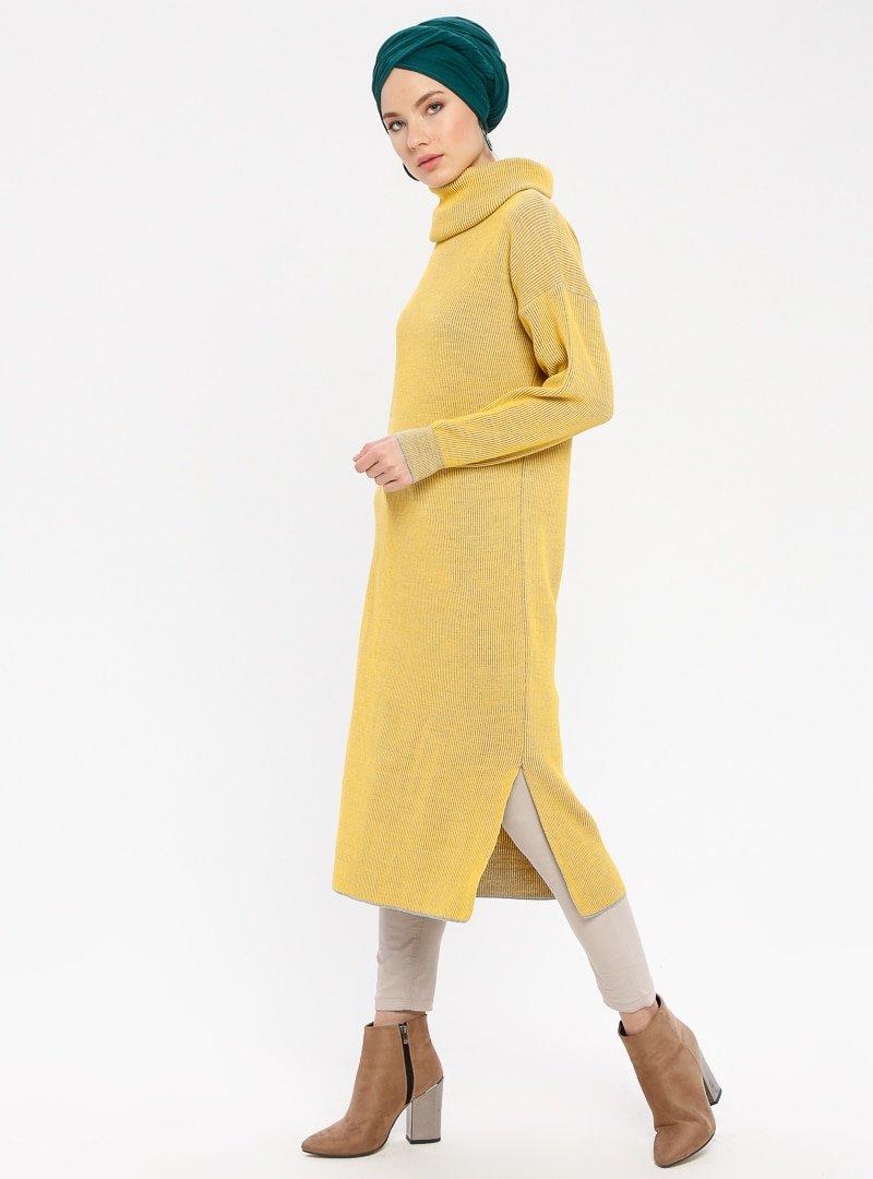 ERL Sarı Boğazlı Yaka Triko Tunik