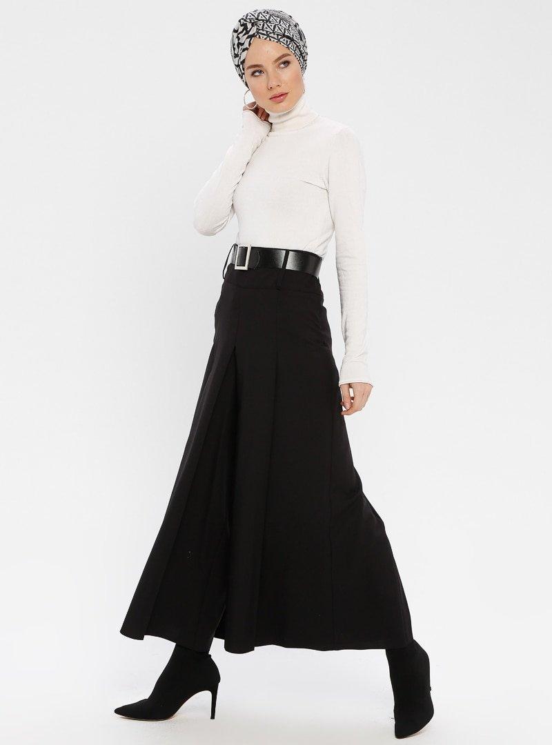 BÜRÜN Siyah Kemerli Pantolon Etek