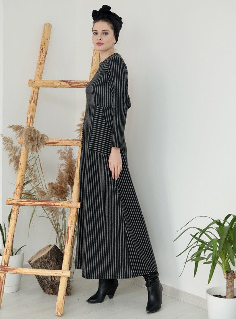 Selma Sarı Design Siyah Çizgili Cepli Elbise