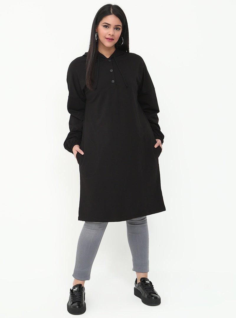 Alia Siyah Cep Detaylı Kapüşonlu Tunik