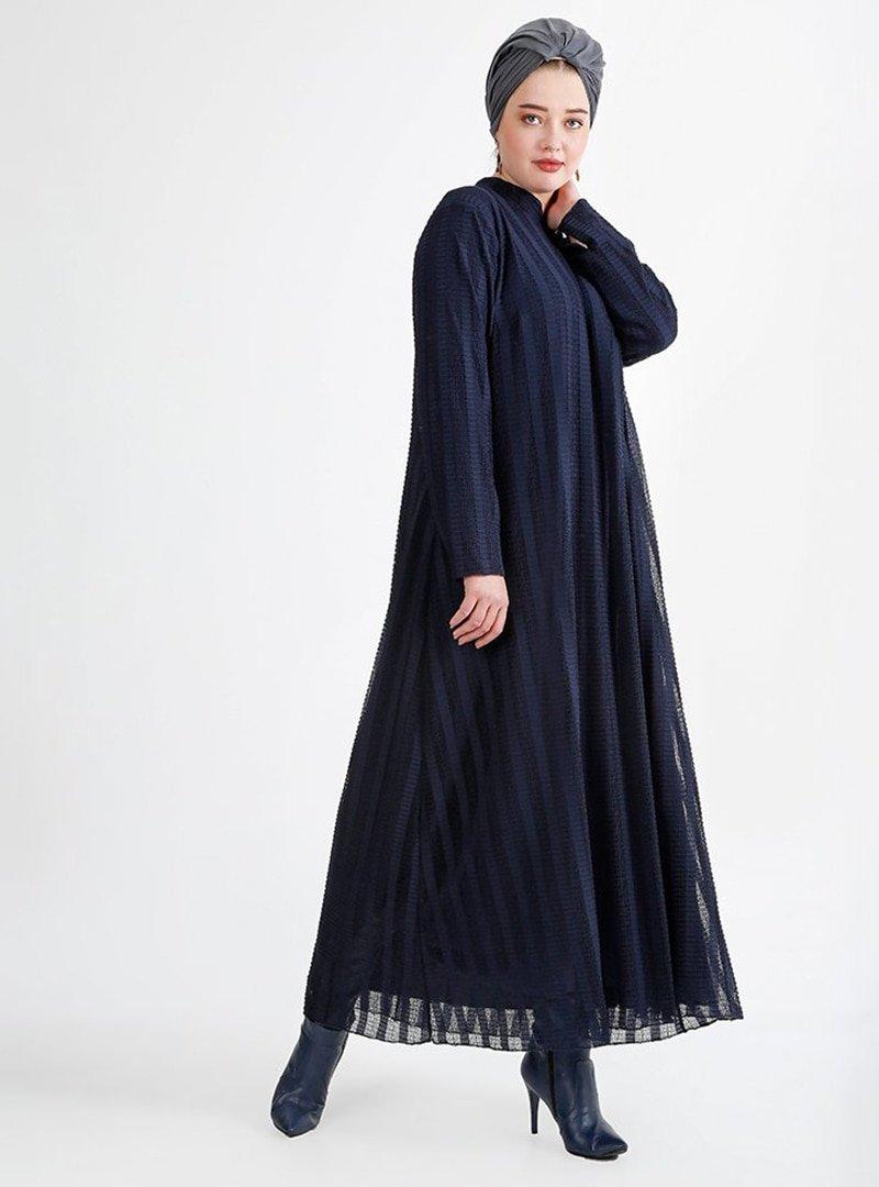 Nesrin Emniyetli Lacivert Dantel Elbise