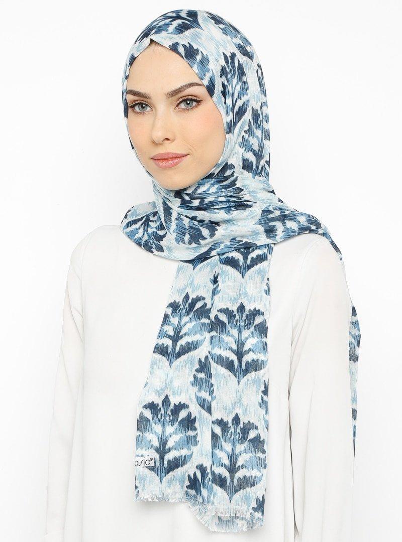 Renkli Butik Mavi Desenli Pamuk Şal