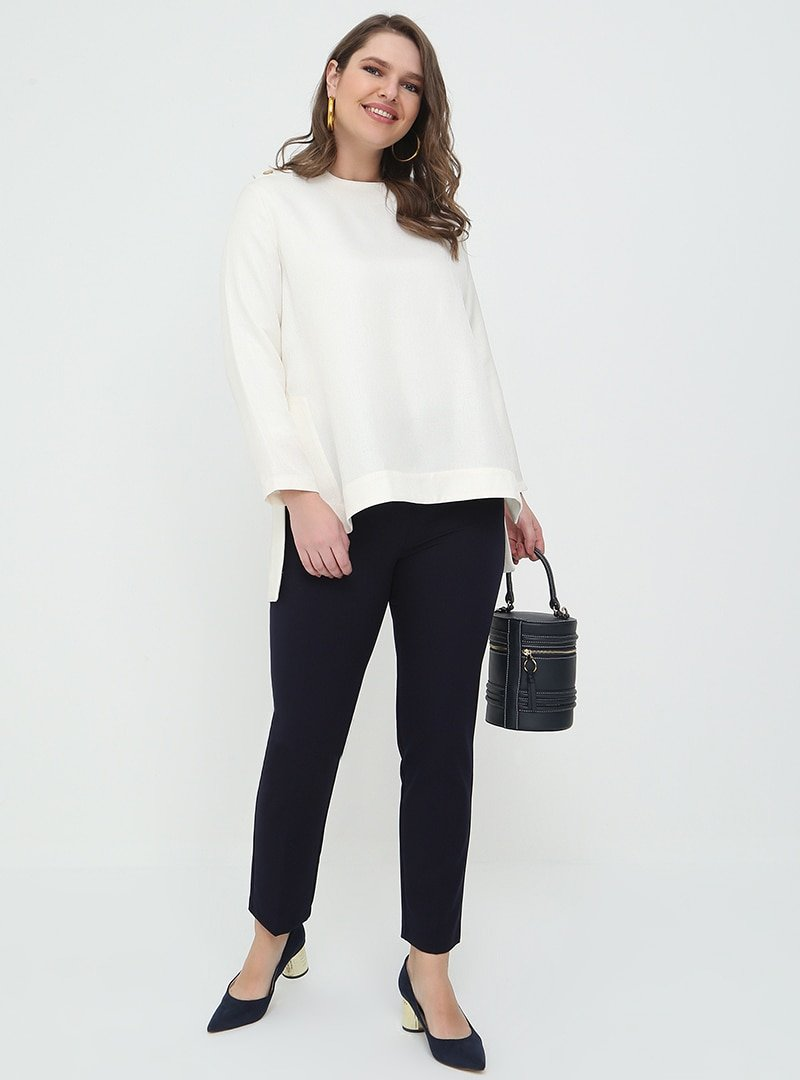 Alia Lacivert Kemerli Klasik Pantolon