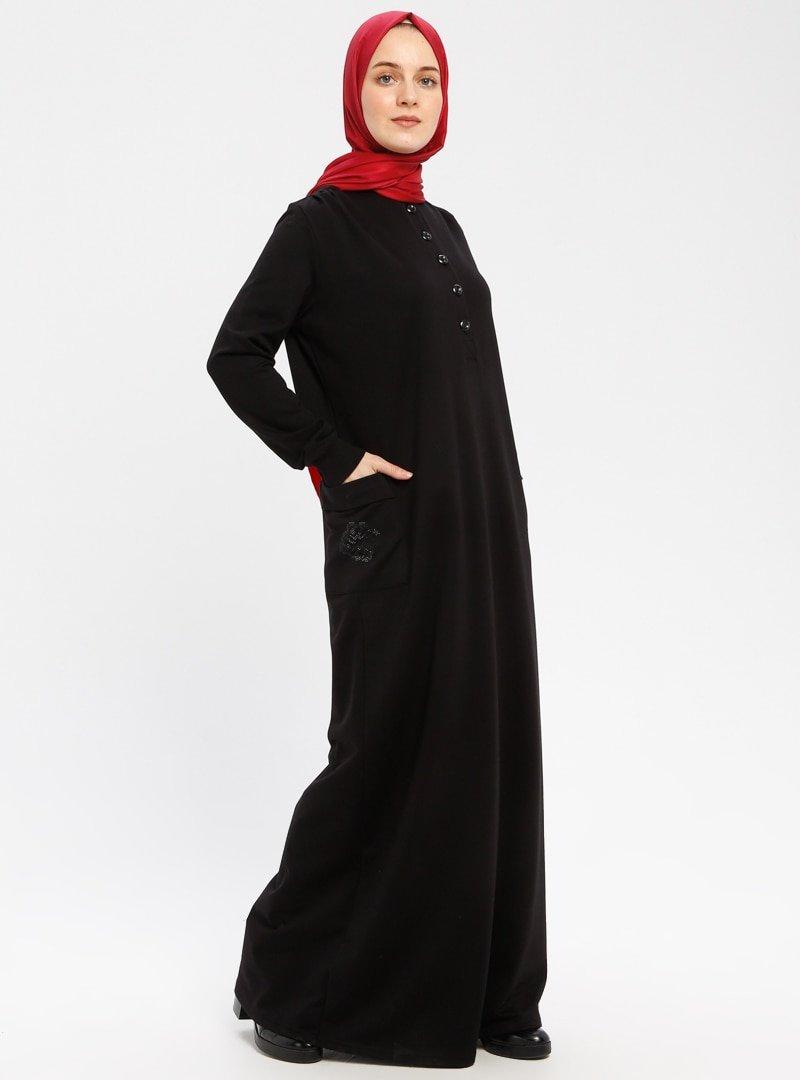 Ginezza Siyah Cep Detaylı Elbise