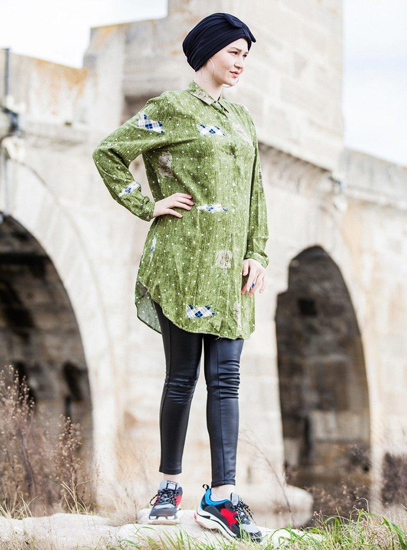 Tesse Yeşil Desenli Tunik