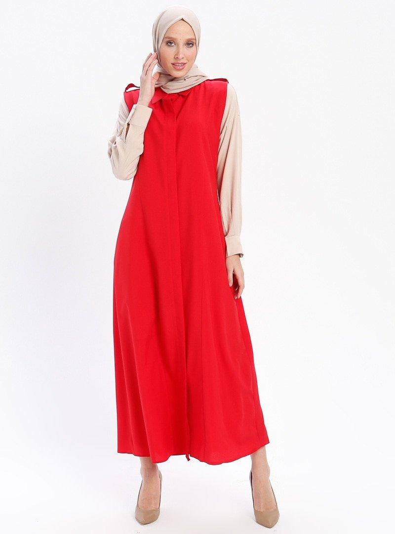 Moda Azramm Kırmızı Sivri Yaka Uzun Yelek