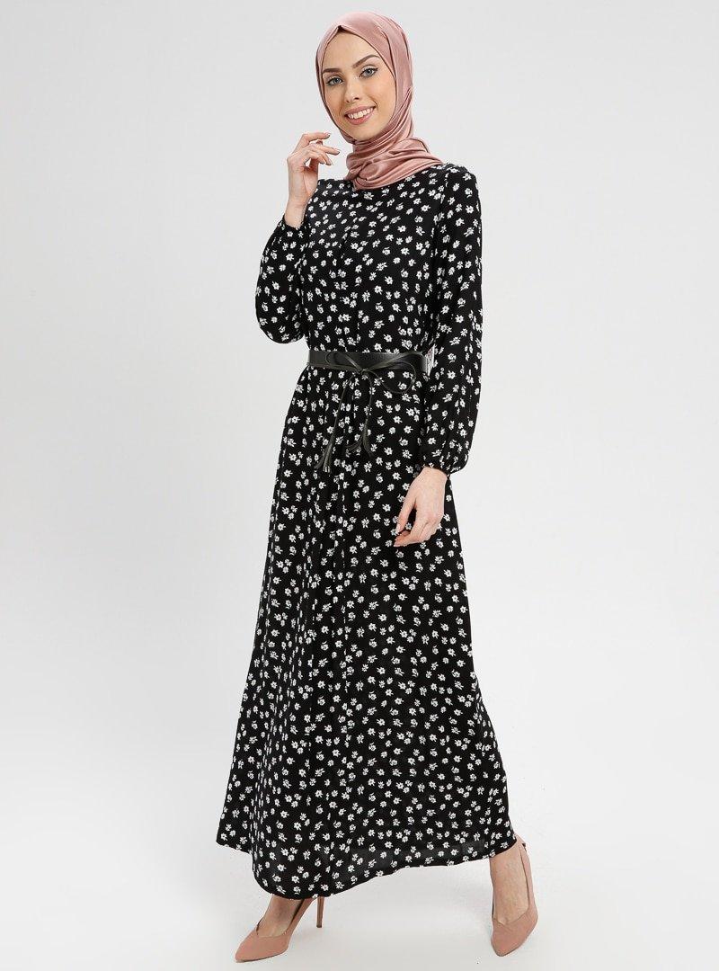 BAGİZA Siyah Desenli Elbise