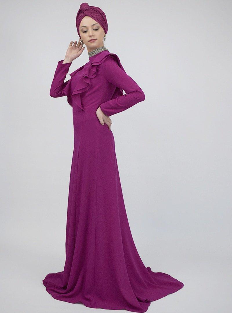Sew&Design Fuşya İşlemeli Krep Abiye Elbise