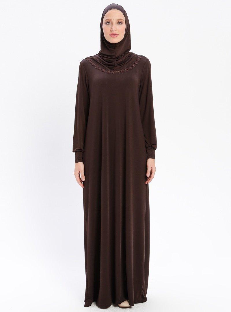 BAGİZA Kahverengi Tek Parça Namaz Elbisesi&Seccade&Zikirmatik Üçlü Takım