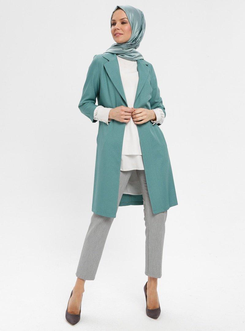 ELİT LİFE Su Yeşili Uzun Ceket