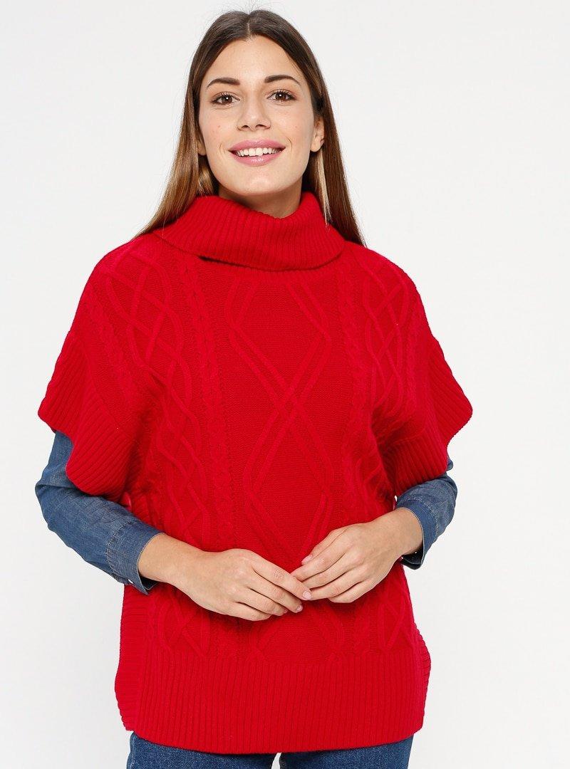Sementa Kırmızı Boğazlı Triko Panço