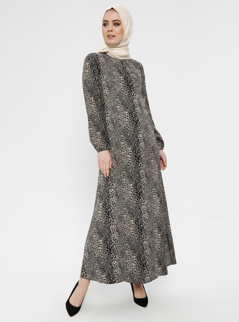 ECESUN Siyah Desenli Elbise