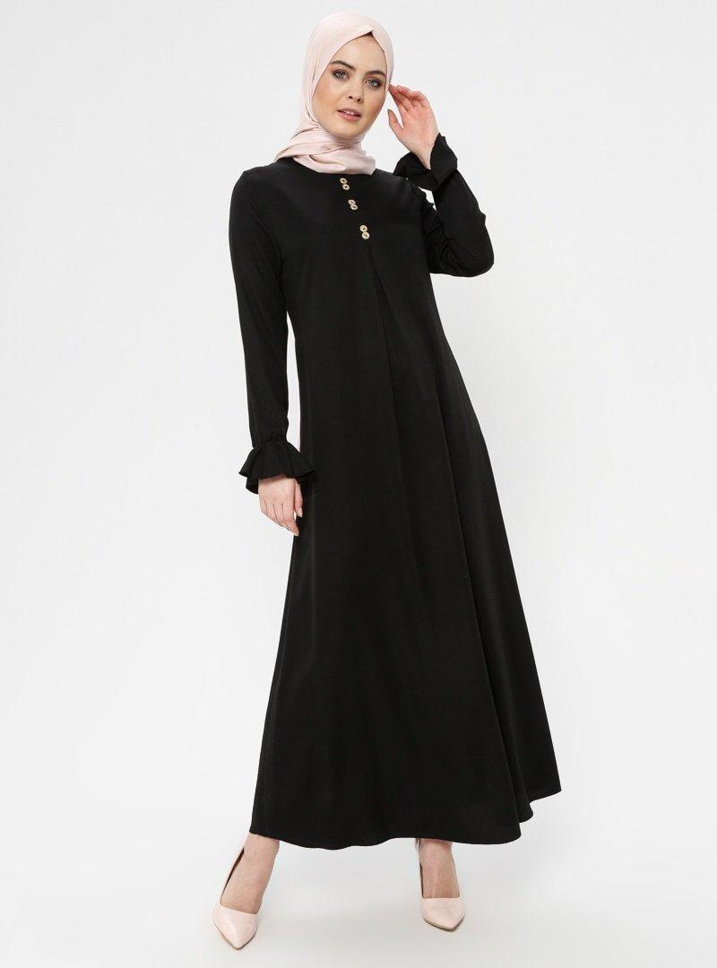 ECESUN Siyah A Pile Elbise