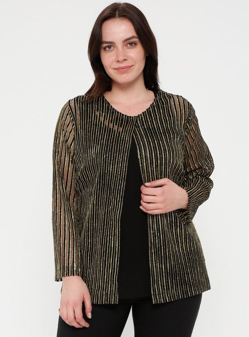 Minimal Moda Siyah Simli Abiye Ceket