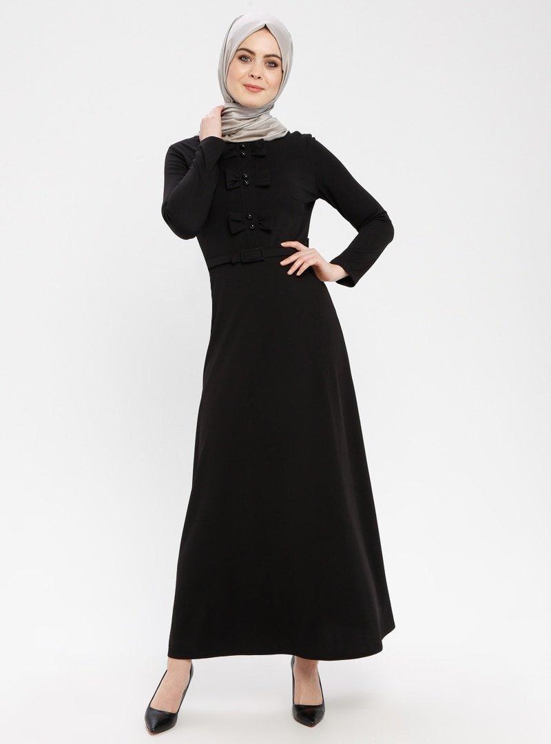 Duru Giyim Siyah Fiyonk Detaylı Kemerli Elbise