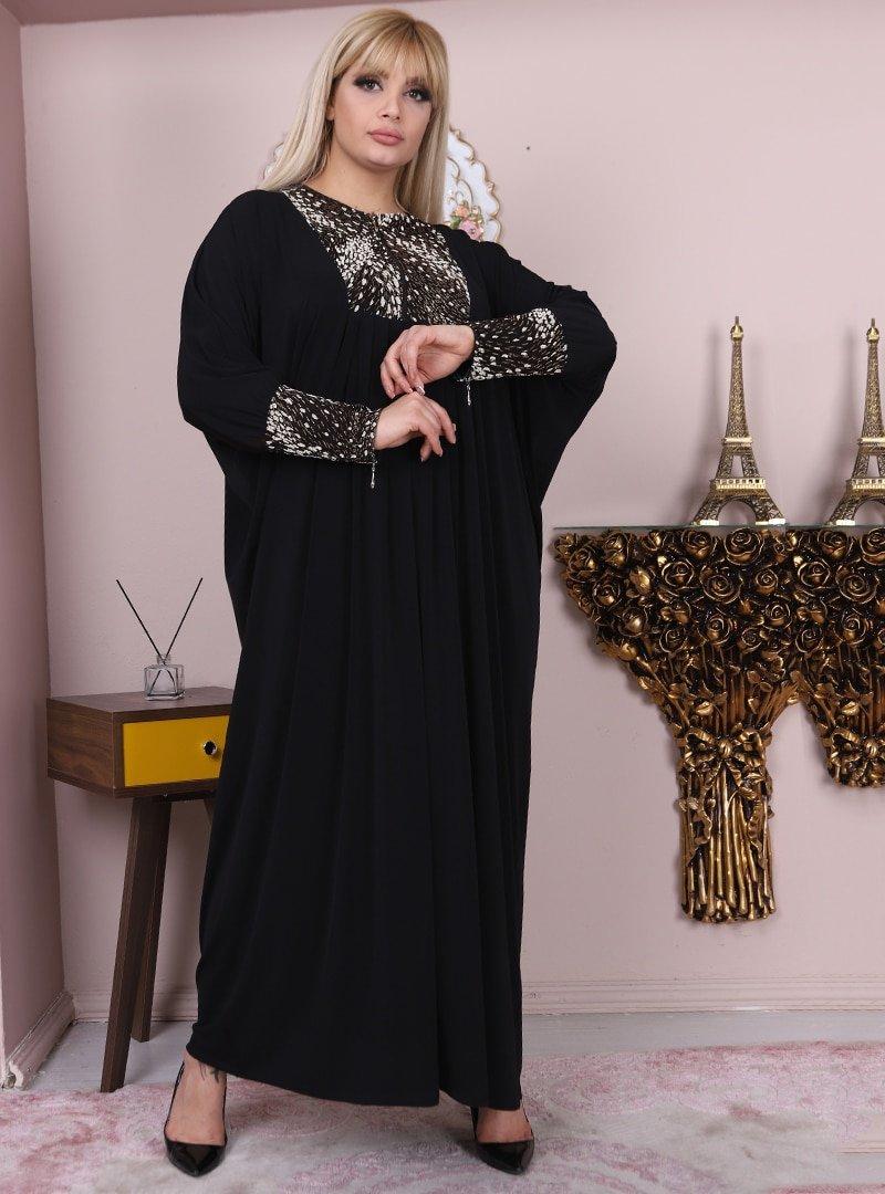 Night Blue Collection Siyah Büyük Beden Abiye Elbise