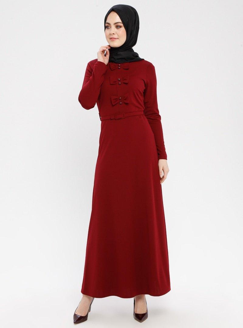 Duru Giyim Bordo Fiyonk Detaylı Kemerli Elbise
